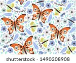 cute  butterfly pattern with... | Shutterstock .eps vector #1490208908