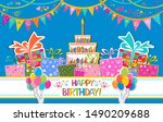 happy birthday card.... | Shutterstock .eps vector #1490209688