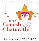 illustration of lord ganpati... | Shutterstock .eps vector #1490210042