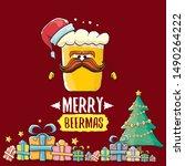 merry beermas vector christmas... | Shutterstock .eps vector #1490264222