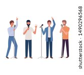 men with microphone on white... | Shutterstock .eps vector #1490296568