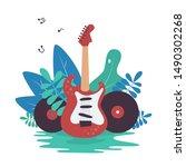 electric guitar  vinyl records...   Shutterstock .eps vector #1490302268