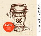 hand drawn vintage coffee...   Shutterstock .eps vector #149037326