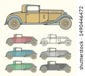vintage car in different colors | Shutterstock .eps vector #1490446472