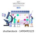 Stock vector pet vaccination web banner template vector illustration huge calendar microscope pills bottle 1490493125