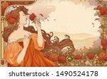 Mucha Goddess Holding Roses In...
