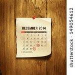 Calendar December 2014  Vintag...