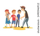 brave boy trying to stop boy...   Shutterstock .eps vector #1490546912