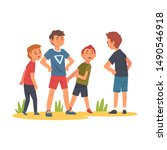 boy trying to stop boy who... | Shutterstock .eps vector #1490546918