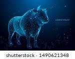 bull symbol of royalty. cow... | Shutterstock .eps vector #1490621348