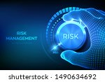 risk levels knob button.... | Shutterstock .eps vector #1490634692