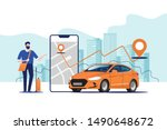 online ordering taxi car  rent... | Shutterstock .eps vector #1490648672