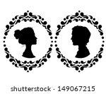 profiles of man and woman in... | Shutterstock .eps vector #149067215