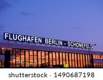 Small photo of Berlin, Germany - August 03 2019: The Airport Berlin-Schonefeld in the sunset. Schonefeld ist one of two active airports in Berlin and is just round the corner from BER.