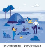Touristic Camp Near River With...