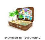 3d open travel suitcase ... | Shutterstock . vector #149070842