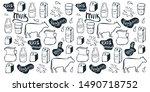 milk background. hand draw milk ...   Shutterstock .eps vector #1490718752