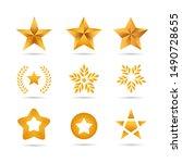 set of golden stars icons...