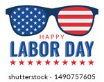 happy labor day lettering... | Shutterstock .eps vector #1490757605