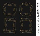 hand drawn golden tribal boho... | Shutterstock .eps vector #1490761028