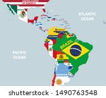 vector part of world map with... | Shutterstock .eps vector #1490763548