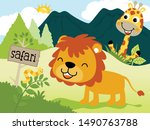 funny animals cartoon in jungle.... | Shutterstock .eps vector #1490763788