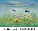 Watercolor Sea With Ships And...