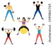 set of multiethnic people with... | Shutterstock .eps vector #1490861765