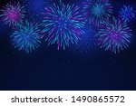 colorful fireworks on a dark... | Shutterstock .eps vector #1490865572