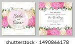 floral template for a wedding... | Shutterstock .eps vector #1490866178