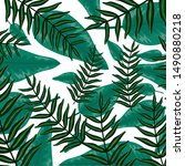 exotic and tropical leafs... | Shutterstock .eps vector #1490880218