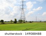 high voltage post on rice field ... | Shutterstock . vector #149088488