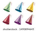 colorful party hats realistic... | Shutterstock .eps vector #1490894645