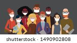 people wearing face masks  air... | Shutterstock .eps vector #1490902808
