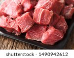 Fresh Raw Diced Red Beef Meat...
