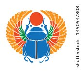 scarab icon in colour style... | Shutterstock .eps vector #1490947808