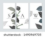 set of botanical brochure cover ... | Shutterstock .eps vector #1490969705