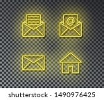 neon mail signs vector isolated ... | Shutterstock .eps vector #1490976425