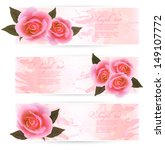three holiday banners with pink ... | Shutterstock .eps vector #149107772