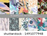 collection of seamless patterns....   Shutterstock .eps vector #1491077948