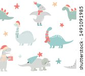 seamless pattern with christmas ... | Shutterstock .eps vector #1491091985