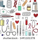 set of medical equipment. a...   Shutterstock .eps vector #1491101378