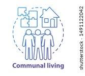 communal living blue concept... | Shutterstock .eps vector #1491122042