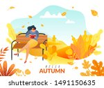 a woman sitting on a bench in... | Shutterstock .eps vector #1491150635