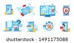 banking service flat vector... | Shutterstock .eps vector #1491175088