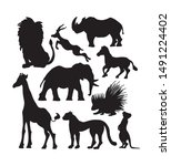 Stock vector black silhouette icon set of african animals south wildlife shadow vector collection 1491224402