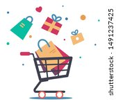 sale background. cart with gift ... | Shutterstock .eps vector #1491237425