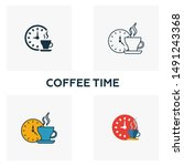 coffee time icon. thin line...