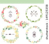 Stock vector floral frame collection set of cute retro flowers arranged un a shape of the wreath perfect for 149125358