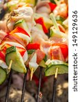 closeup of skewers with...